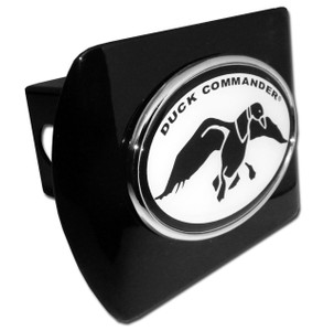 Duck Commander Black and White Oval on Black Hitch Cover
