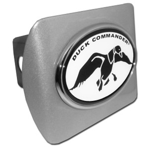 Duck Commander Black and White Oval on Brushed Hitch Cover