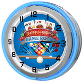 Large Game Room Neon Blue Clock