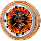 Orange FIrefighter Helmet Neon Clock