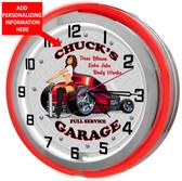 Red Neon Garage Clock