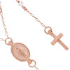 "ROSE GOLD PLATED MOONSTONE ROSARY NECKLACE 18"" + 2"""