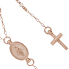 """ROSE GOLD PLATED PEARL ROSARY NECKLACE 18"""" + 2"""""""