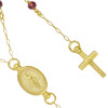 """GOLD PLATED GARNET ROSARY NECKLACE 18"""" + 2"""""""