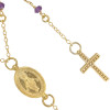 """GOLD PLATED AMETHYST ROSARY NECKLACE 18"""" + 2"""""""
