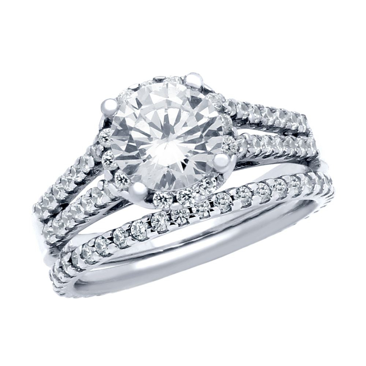 rhodium plated round cz high double row setting ring and eternity band wedding set - Double Band Wedding Ring