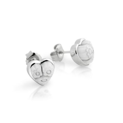 WHITE MURANO MILLEFIORI SMALL HEART STUD EARRINGS