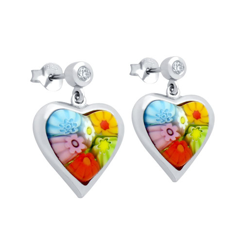 MULTICOLOR MURANO MILLEFIORI 11x11MM HEART SHAPED EARRINGS WITH CZ POST