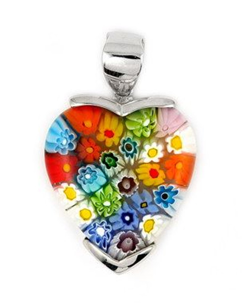 MULTICOLOR MURANO MILLEFIORI LARGE 30MM X 26MM HEART PENDANT