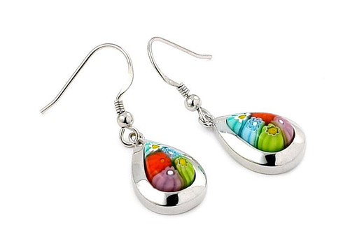 MURANO MILLEFIORI MULTICOLOR DROP EARRINGS