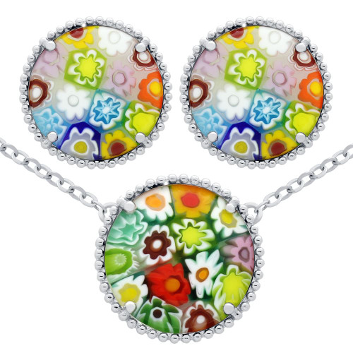 MILLEFIORI SET: MULTI-COLOR 16MM ROUND POST EARRINGS AND NECKLACE