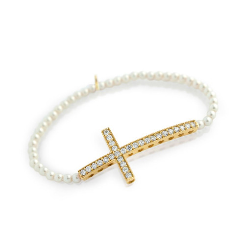 GOLD PLATED LARGE CZ CROSS ON SYNTHETIC PEARL STRETCH BRACELET