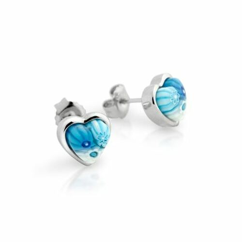 LIGHT BLUE MURANO MILLEFIORI SMALL HEART STUD EARRINGS