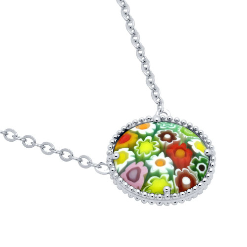 "MULTICOLOR MURANO MILLEFIORI 16MM ROUND NECKLACE 16"" + 2"""