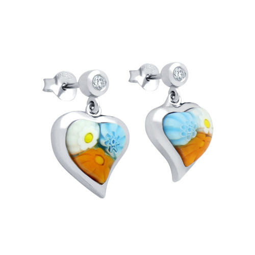 MULTICOLOR MURANO MILLEFIORI 8x8MM HEART SHAPED EARRINGS WITH CZ POST