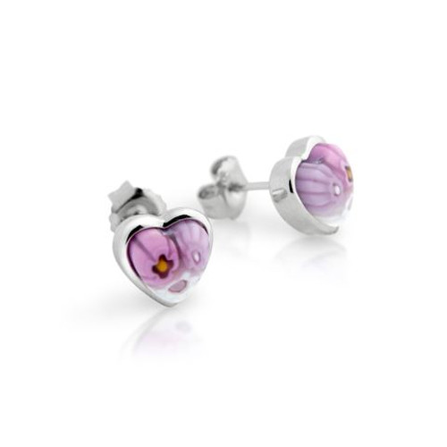 PINK MURANO MILLEFIORI SMALL HEART STUD EARRINGS