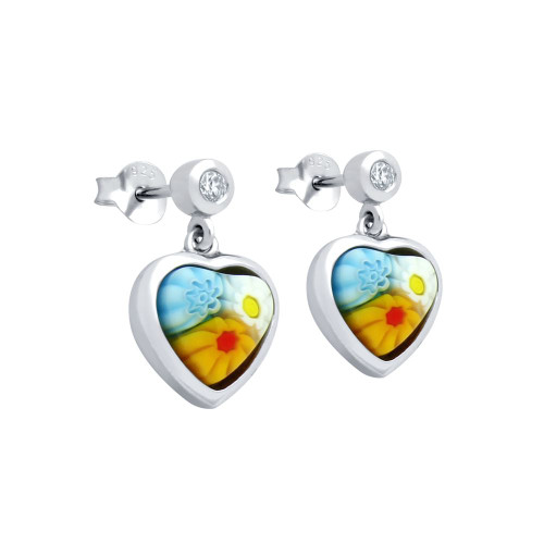MULTICOLOR MURANO MILLEFIORI 7x7MM HEART SHAPED EARRINGS WITH CZ POST