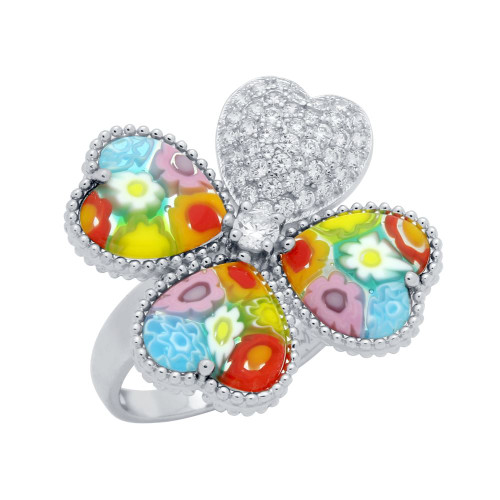 MULTICOLOR MURANO MILLEFIORI CLOVER OF HEARTS CZ RING