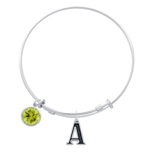 EXPANDABLE INITIAL BANGLE WITH AUGUST CHARM (AMAZON)