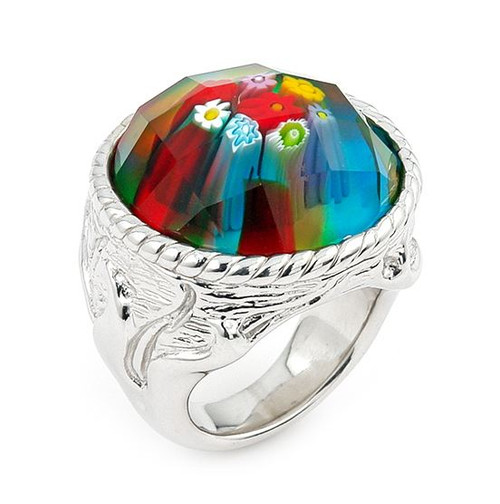 MURANO MILLEFIORI MULTICOLOR FACETED ROUND RING WITH ELECTROFORM SILVER FRAME