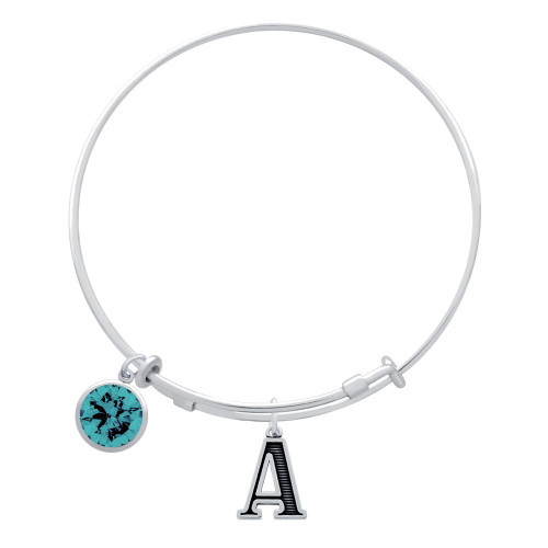 EXPANDABLE INITIAL BANGLE WITH DECEMBER CHARM