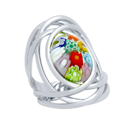 MULTICOLOR MURANO MILLEFIORI OVAL SPLIT SHANK RING