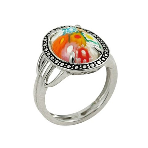 MULTICOLOR MURANO MILLEFIORI OVAL SHAPE RING