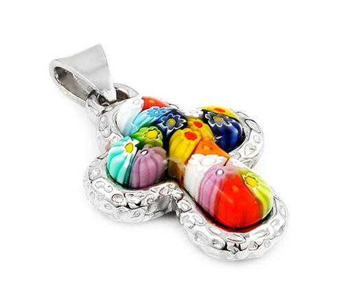 MURANO MILLEFIORI MULTICOLOR CROSS PENDANT WITH ELECTROFORM SILVER FRAME 8MP1860