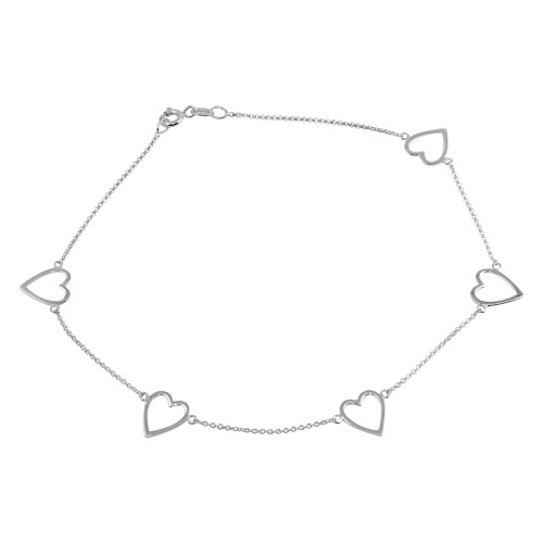STERLING SILVER CUTOUT HEARTS ANKLET 9""