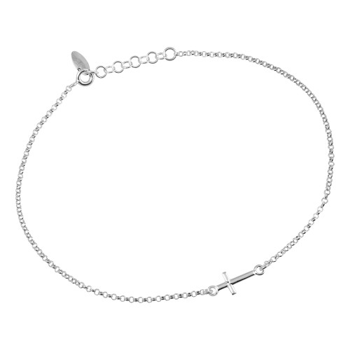 "STERLING SILVER CROSS ANKLET 9"" +1"""