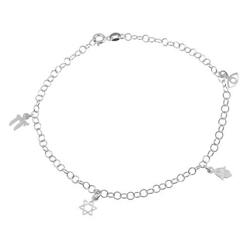 "STERLING SILVER CHAI AND STAR OF DAVID FAITH CHARM ANKLET 9"" +1"""