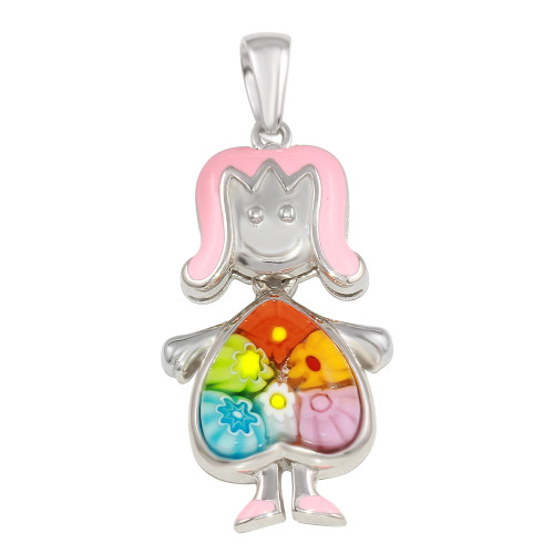 MURANO MILLEFIORI GIRL PENDANT WITH DANGLING MULTI COLOR HEART BODY