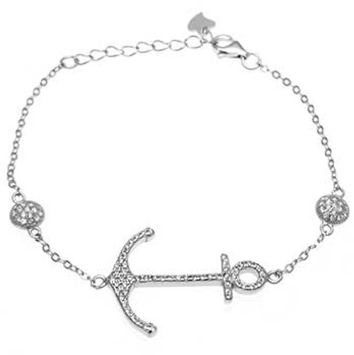 STERLING SILVER CUBIC ZIRCONIA ANCHOR BRACELET