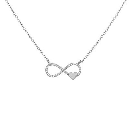 STERLING SILVER CUBIC ZIRCONIA INFINITY W. HEART NECKLACE
