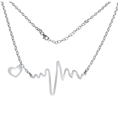 ITALIAN STERLING SILVER HEARTBEAT NECKLACE