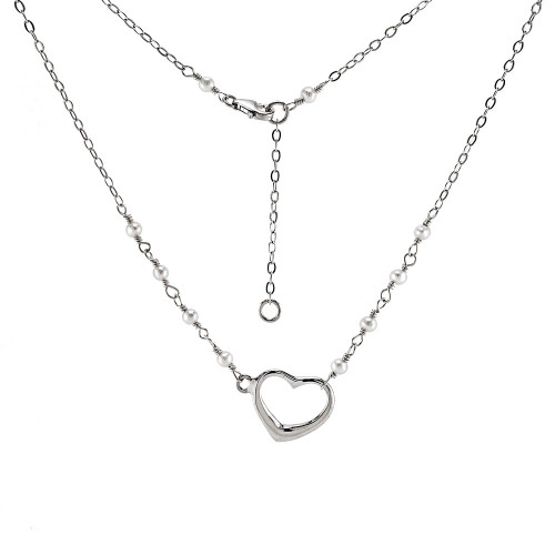 STERLING SILVER WHITE PEARLS W. FLOATING HEART RHODIUM NECKLACE