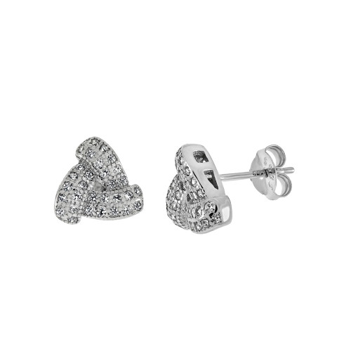 STERLING SILVER CUBIC ZIRCONIA LOVE KNOT STUD EARRINGS