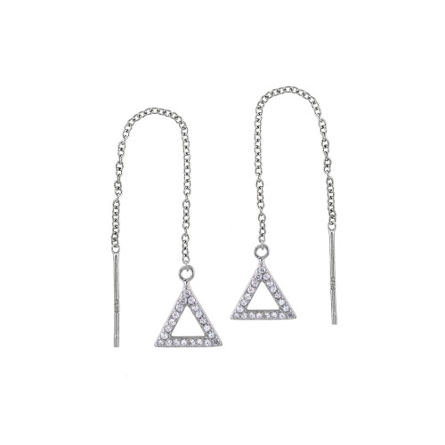 STERLING SILVER CUBIC ZIRCONIA TRIANGLE THREADER EARRINGS
