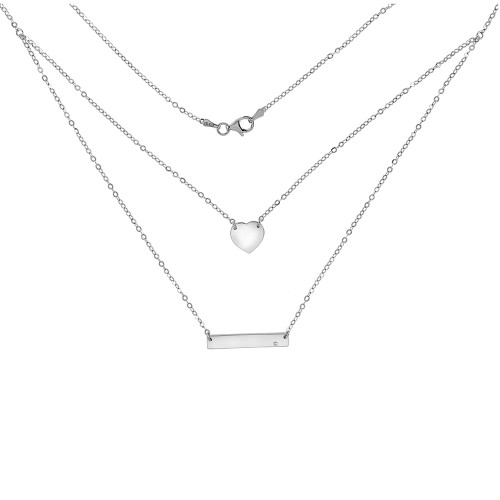 STERLING SILVER HEART  &  BAR RHODIUM PLATED NECKLACE