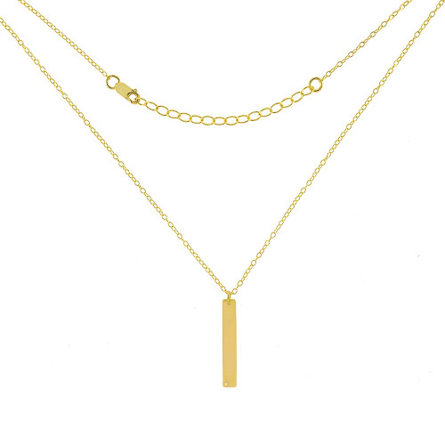 STERLING SILVER VERTICAL BAR GOLD PLATED NECKLACE W. DIAMOND