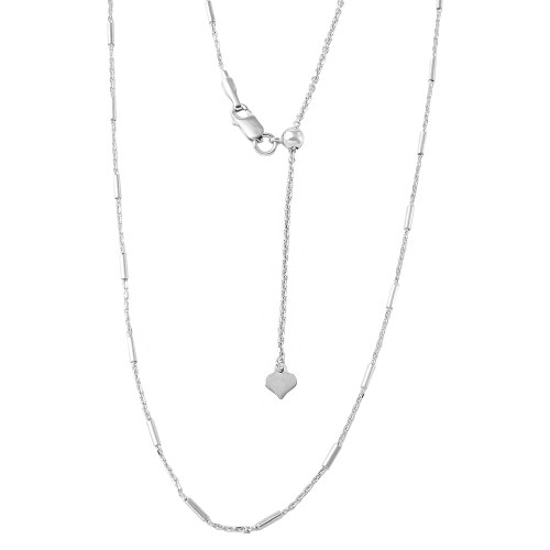 """ADJUSTABLE RHODIUM PLATED BAR CHAIN (1.2MM)  14"""" TO 24"""""""
