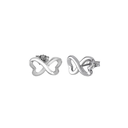 STERLING SILVER INFINITY RHODIUM STUD EARRINGS