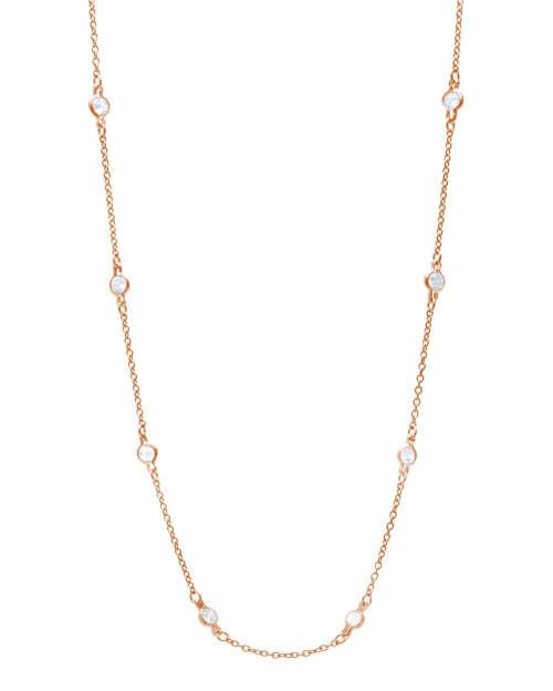 ROSE GOLD 4MM BEZEL CZ BY THE YARD NECKLACE 24""