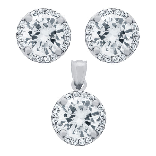 RHODIUM PLATED SET: 7.5MM ROUND CZ EARRINGS AND PENDANT WITH CZ HALO