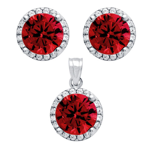 RHODIUM PLATED SET: RED 7.5MM ROUND CZ EARRINGS AND PENDANT WITH CZ HALO