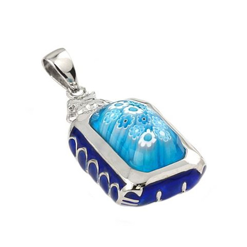 EXQUISITE COLLECTION SMALL FACETED LIGHT BLUE MURANO GLASS RECTANGLE PENDANT