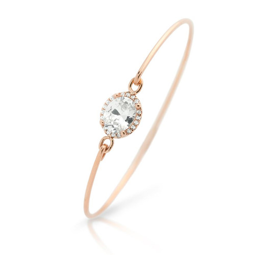ROSE GOLD PLATED OVAL CZ BANGLE WITH SURROUNDING CLEAR CZ STONES