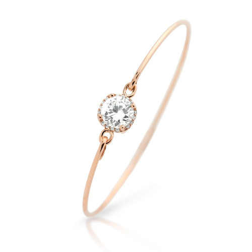 ROSE GOLD PLATED SQUARE DESIGN 8MM ROUND CZ BANGLE WITH ALL AROUND CLEAR CZ STONES
