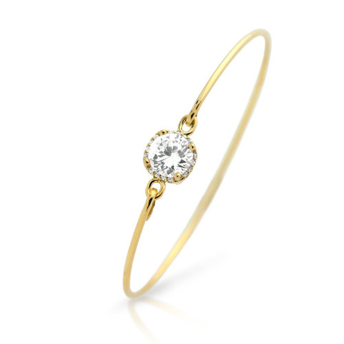 GOLD PLATED SQUARE DESIGN 8MM ROUND CZ BANGLE WITH ALL AROUND CLEAR CZ STONES