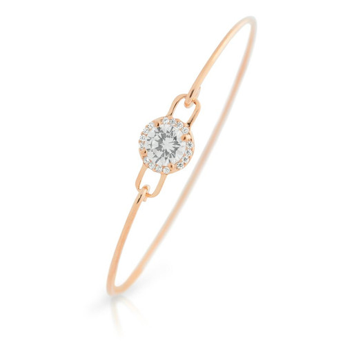 ROSE GOLD PLATED ROUND CZ BANGLE WITH SURROUNDING CLEAR CZ STONES